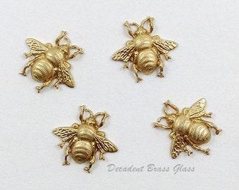 Raw Brass Bee, Bee Embellishment, Brass Honey Bee, Jewelry Supplies, Raw Brass Stamping, 19mm x 17mm - 4 pcs. (r304)