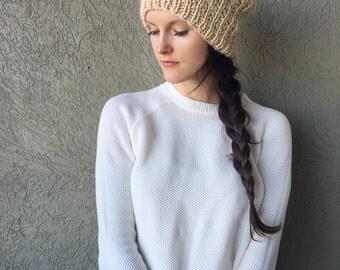 Oatmeal Knitted Slouchy Hat / Beige Neutral Tan Cream Slouch Beanie / Alpaca Yarn