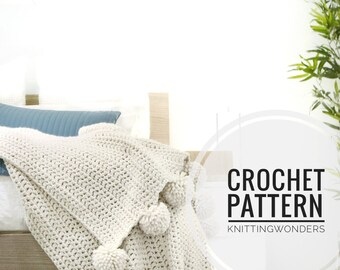 Crochet Pattern / Throw Blanket Afghan With Pom Poms, Crochet Pattern PDF Chunky Wool Blanket Home Decor Modern Throw / The ASPYN THROW