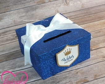 Mini Card Box -  Size 8 x 8 x 4 - Card Box in Glitter Royal Blue, White & Gold with Matching Prince Shield Tag - Crown, Little Prince
