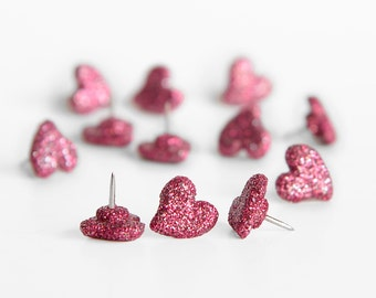 Heart Push Pins in Pink Glitter. Valentine's Day Party Decor. Perfect for Love Baby Shower Decoration,Weddings, Home Office Design.Set of 12