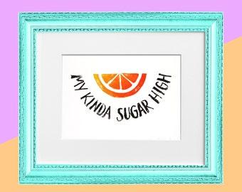 "Original Handmade Lino Cut Art Print - Signed & Mounted - 12x10"" - 'My kinda sugar high' - Orange Fruit - Straight Edge -Vegan - Gold"