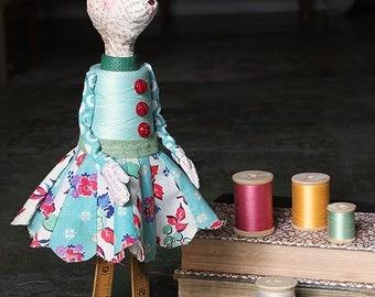 Millie - Handmade Papier Mache Found Object Bunny Rabbit Doll by Paula Joerling