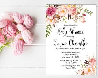 Printable Boho Baby Shower Invite, Printable Floral Baby Shower Invitation, Gender Neutral Invite, Peonies Watercolor Invite, Download 308-W