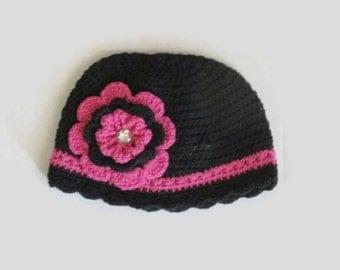 Baby Crochet Beanie with Removable Flower baby girl's hat, baby girl's beanie, toddler hat, toddler beanie, newborn girl, baby shower gift