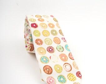 Donut necktie, donut tie, dougnut necktie, men's tie, dessert tie, sprinkle tie, white donut tie, donuts necktie, bakery tie, adult necktie