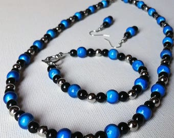 Bright Blue, Black and Sterling Silver Beaded Necklace, Bracelet, and Earring Set