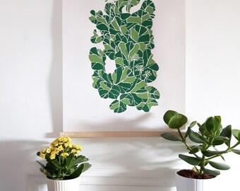 Bergenia screen print. Green leaf 2 colour print. Leaf art. Plant print. Handprinted leaves wall art. A2 paper size/420x594mm/16.5 x 23.4in