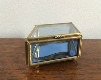 Blue Glass and Brass Mini Box ~ Diamond Shaped