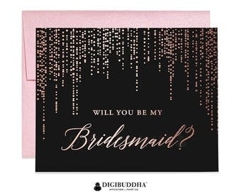 Rose Gold Foil Will You Be My Bridesmaid Card Maid of Honor Ask Bridesmaid Black Paper Real Foil Flower Girl Card Shimmer Envelope CW0008