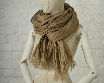 LIGHT BROWN LINEN scarf / soft fringe