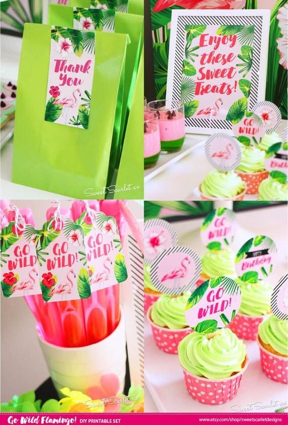 Flamingo Printable Set Tropical Birthday Party