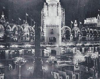 Vintage Original Postcard - New York, Real Photo Postcard, (RPPC) Coney Island Electric Tower at Luna Park, Nightview 20s-30s Era