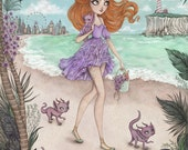 Mermie's Day Off - A4 Limited Edition Fine Art Print - Inspired by The Little Mermaid, Dragons, Eighties Nostalgia and Fairytales