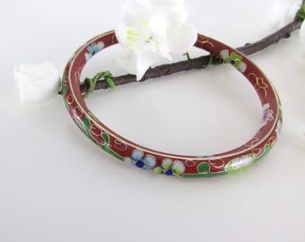 Cloisonne Enamel Bangle Bracelet - Vintage 1970s Enamel Floral Jewelry
