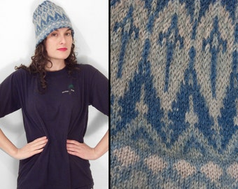 SCANDINAVIAN Winter Hat 1970s Wool Sky Cornflower Baby Blue One Size