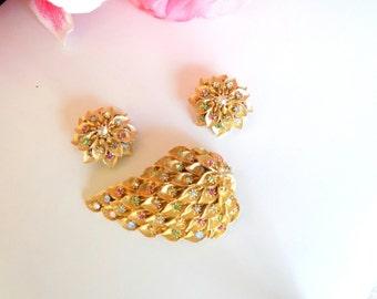 Vintage Rhinestone Leaf and Flowers Brooch and Earring Set