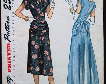 1940s Style Scoop Neck with Peplum Aline Skirt Short or Long Length Custom Made in Your Size From a Vintage Pattern