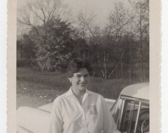 Photo Of A Pretty Woman With Classic Car Vintage Snapshot Antique Automobile Photograph Mid Century Modern Auto Americana