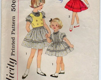 Children's Dress Short Puffed Sleeves And Full Gathered Skirt Back Button Closing Girl's Size 3 Used Vintage Sewing Pattern Simplicity 3291