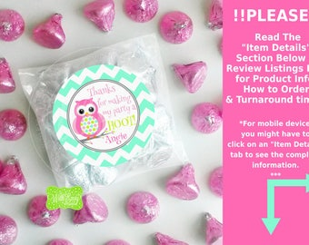 Owl Favor Stickers - Pink Owl Thank You Stickers - Polka Dot Owl Stickers - Owl Gift Stickers - Digital or Printed
