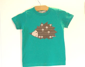 Childrens hedgehog tshirt - green and brown - made with upcycled fabric