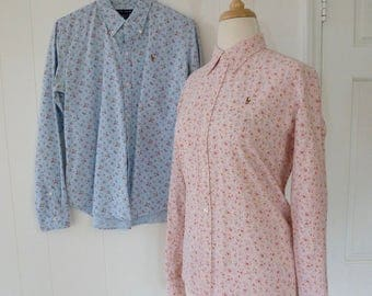 90's Preppy Ralph Lauren Oxford Shirts Tiny Floral Print Cotton Calico Button Down Shirt Set of TWO Pony Logo L