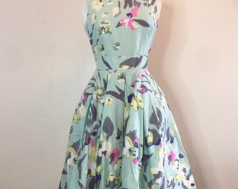 Teal Pastel Floral Dress 80s Does 50s Pinup Style Full Skirt knee Length
