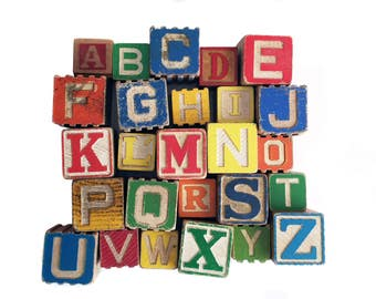 nursery decor wooden alphabet block set vintage letters baby boy baby girl gender neutral abc blocks primary colors wood letters colorful