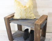 Custom Reclaimed Solid Wood Bench and Shoe Storage