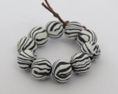 Beads, black and white beads, Animal print beads, zebra print, unique beads, DIY crafts, supplies, clay beads, round beads, 10 pieces