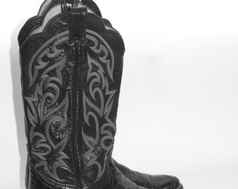 Women's LARRY MAHAN  EEL Leather Thieves Market Cowgirl Boots  - Size 7