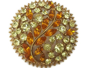 Vintage Rhinestone Brooch Pin Vintage Coat Pins Amber Orange Chartreuse Green Crystal Brooch Large Brooches Pins Antique Jewelry Gifts