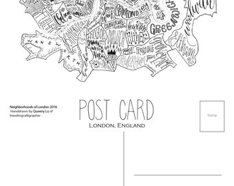 London Neighborhood Map: 4x6 Post Card (Pack of 5)