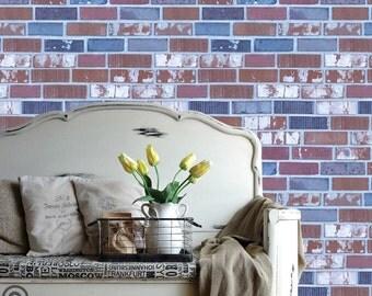 brick wall sticker | etsy - Carta Da Parati Design Sala Da Pranzo Ispirazione Vetro Freddo