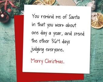 Funny Christmas Card, Funny Greeting Card, Xmas Card, Santa Judging Card, Banter Card, Funny Card, Sarcastic Christmas Card, Funny Cards