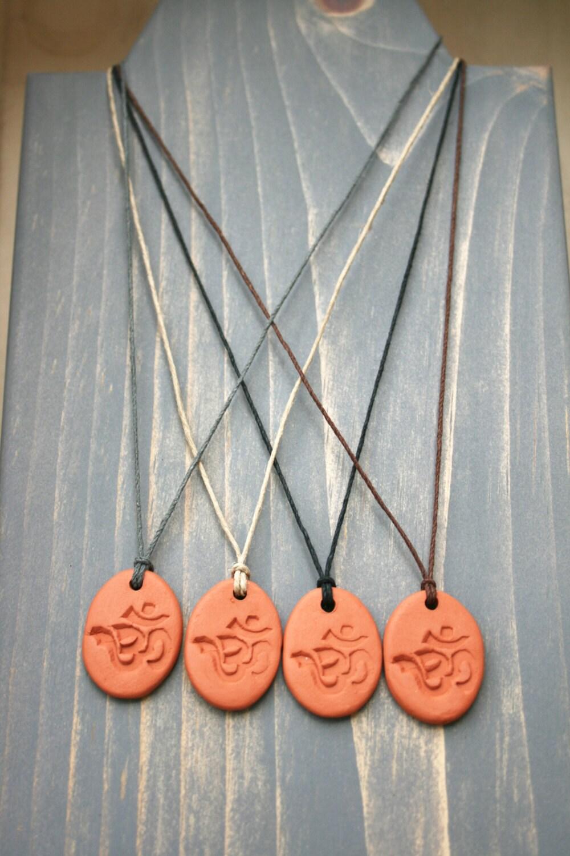 Terracotta Neck Pendant Diffuser ~ Om diffuser pendant terra cotta aroma necklace