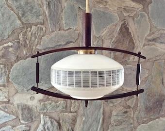 Mid-century modern Danish design teak and frosted glass pendant light, ceiling lamp. 1950s-1960s Scandinavian lamp. Danish modern style.