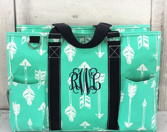 Arrows Utility Tote, Arrows Tote,  Monogrammed Arrows Tote, Monogrammed Utility Tore Organizer, Gift for the Grad, Personalized Pocket Tote