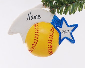 Soft ball ornament - Christmas softball ornament - Blue Team Color - Sports ornament - personalized softball Christmas ornament (271)