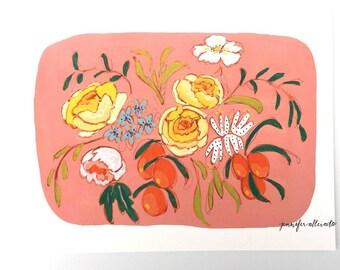 Colorful floral botanical art print -  Coral