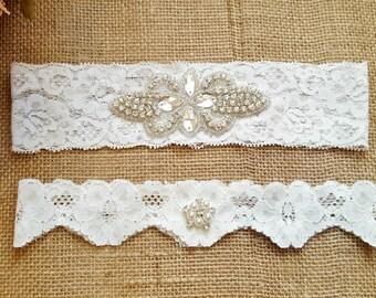 Bridal Garter Set keepsake - wedding garter,  Ivory garter,  Embellished Rhinestone matching toss garter set