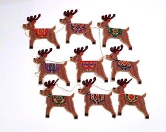 Santas Reindeer Set Vintage Rudolph Christmas Herd of Deer Needlepoint 1980s Plastic Canvas Garland Reindeer Team Embellished Embroidery