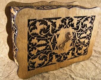 Horse decorative scrollwork box