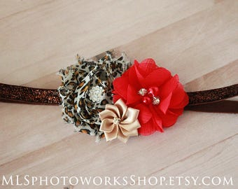 Bold Red & Leopard Print Baby Girl Headband - Red Leopard Flower Hair Bow for Newborns, Babies and Little Girls