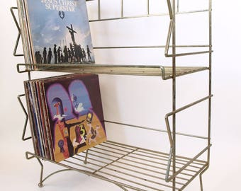 Vintage 50s 60s Large mid century modern gold atomic metal wire Vinyl Record Album Stand 2 shelf furniture holds 240 LPs!