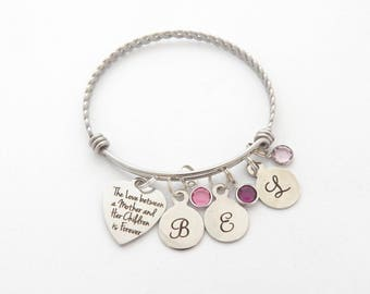 Personalized The love between a Mother and her Children is Forever, Gifts for Mothers, Mom Bracelet, Children Birthstones Bangle, from kids
