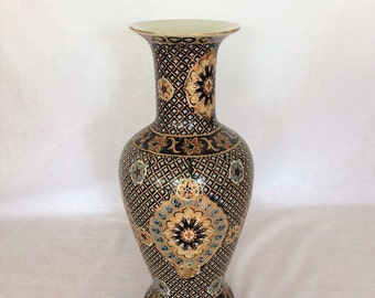 "Vase Chinese  Stands 12"" Decorative Oriential Mosaic Maroon Floral Mariage"