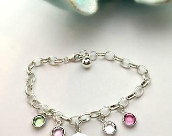 Sterling Silver Family Tree Birthstone Bracelet/ Gift for Mom/ Gift for Grandma/ Mommy Bracelet/ Tree of Life/ Grandchildren bracelet