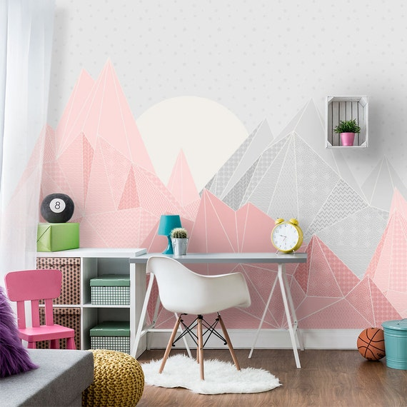 Kids Triangle Mountain Wallpaper Mountain Mural With Moon